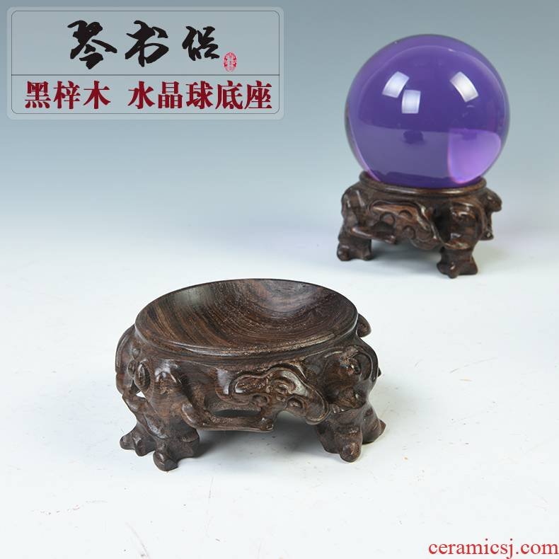 Black catalpa wood, crystal ball base solid wood base egg decorating seat gourd walnut real wood, hollow base
