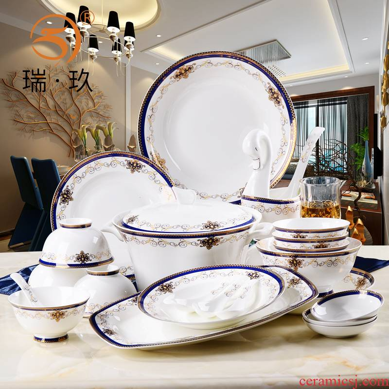 Tangshan ipads porcelain tableware kit European - style key-2 luxury up phnom penh ipads porcelain ceramic dishes set household housewarming gift box