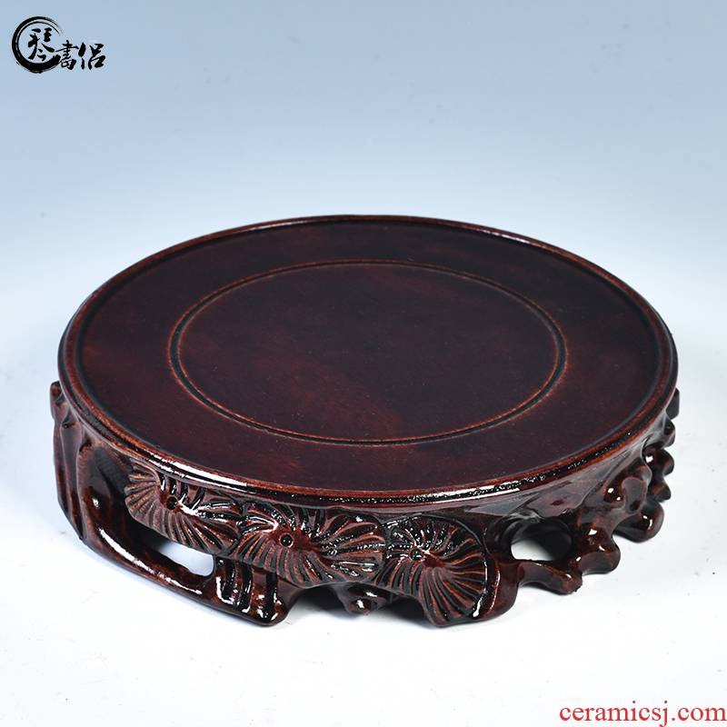 The tank base vase base solid wood round tea sets are it base stone base carved wooden base frame