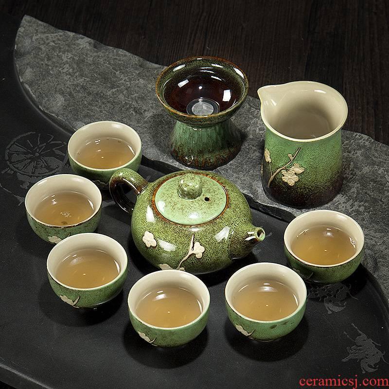 Ronkin Japanese up tea set suit household contracted tea tea set a complete set of ceramic teapot teacup 6 pack