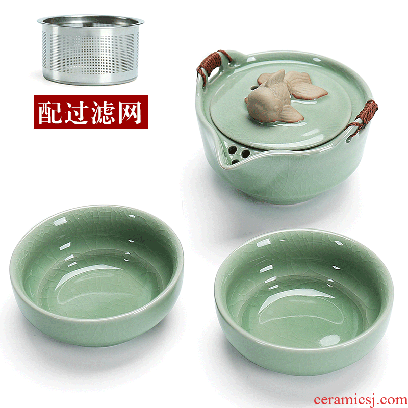 Dragon brother yongxun piece crack glass ceramic up one pot 2 two cups of domestic portable travel kung fu tea set the teapot