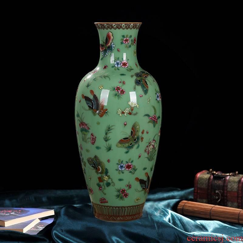Jingdezhen ceramics pea green, antique hand - made butterfly vase decoration home decoration goddess of mercy bottle handicraft furnishing articles