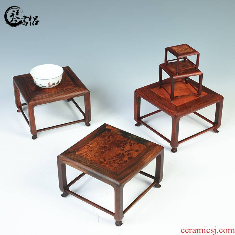 Old red lobular red sandalwood rosewood mahogany base with cherry wood square flower what teapot teacup bonsai base