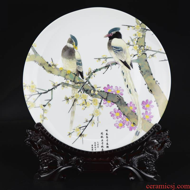 Jingdezhen ceramics flower and - bird painting decorative plate hanging dish large sitting room rich ancient frame plate furnishing articles of handicraft