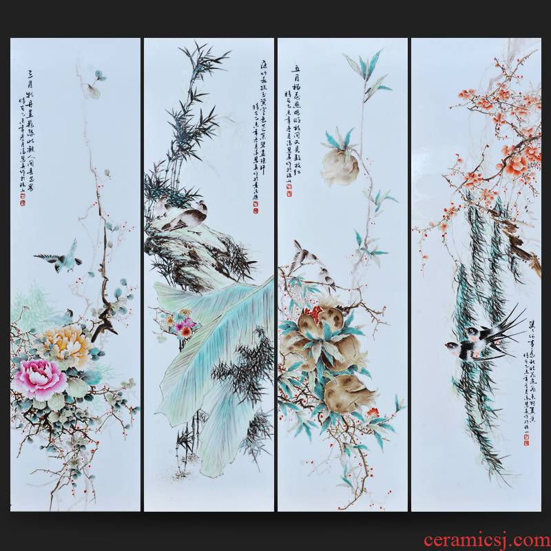 Jingdezhen ceramics Feng Huiying hand - made four screen adornment porcelain plate painting home sitting room carpet of furnishing articles
