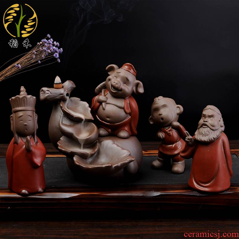 Creative journey to the west, sun wukong was, pig eight quit of ceramic arts and crafts desktop small place tea pet back censer ornament