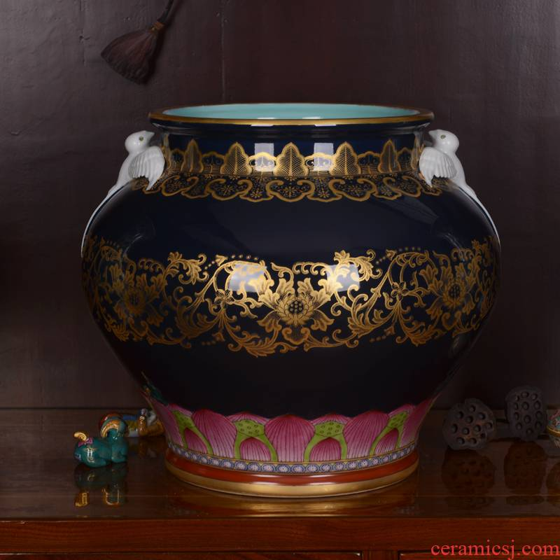 Jingdezhen ceramics high - grade ji archaize qianlong vase household adornment blue glaze jar process sitting room furnishing articles