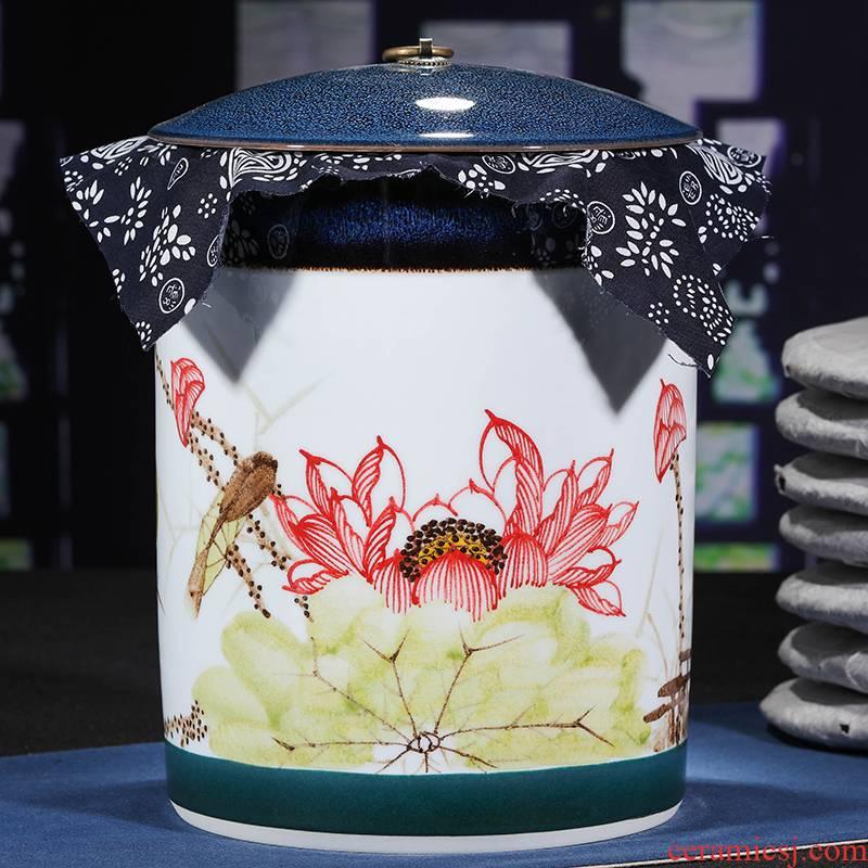 Jingdezhen ceramic hand - made caddy fixings receives puer tea cake tin POTS with big detong seal tea cake