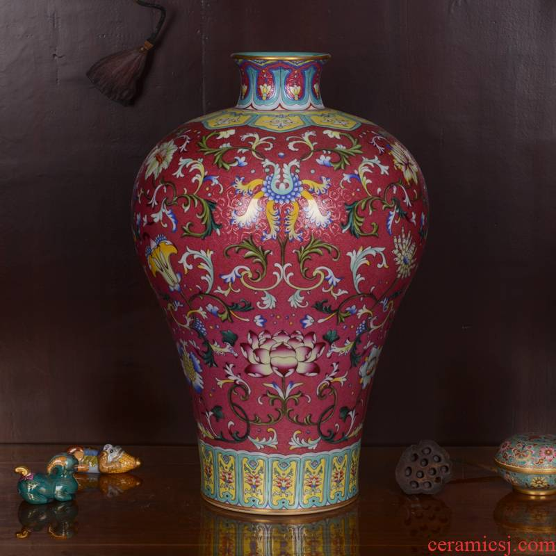 Jingdezhen ceramics high - grade hand - made archaize qianlong to mei red bottle vase home decoration craft furnishing articles in the living room