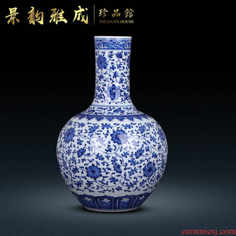 Blue and white porcelain of jingdezhen ceramics bound branch lotus porcelain bottles of archaize of furnishing articles furnishing articles sitting room new Chinese arts and crafts
