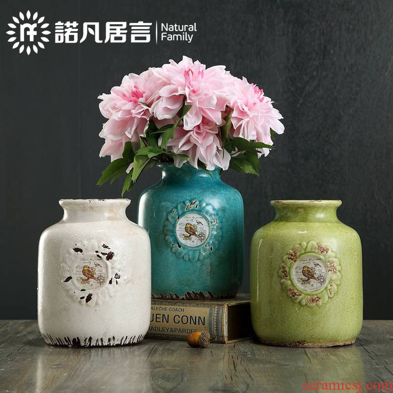 American country ceramic sitting room mesa vase restoring ancient ways furnishing articles dried flower arranging flowers, flower implement simple fashion decoration restaurant