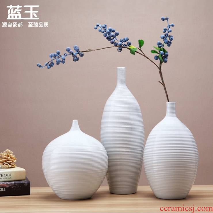 Jingdezhen ceramic vases, white European vase three - piece furnishing articles contracted sitting room between example home decoration