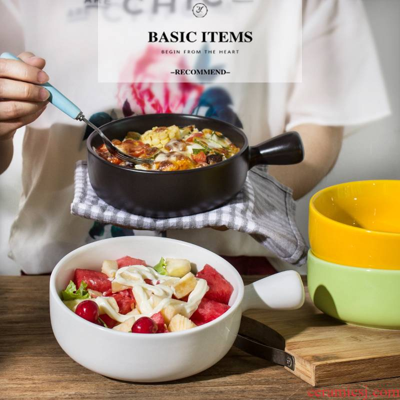 Ceramics with handles roasted bowl for job export baking bowl bowl for breakfast multicolor rainbow such as bowl of fruit salad bowl