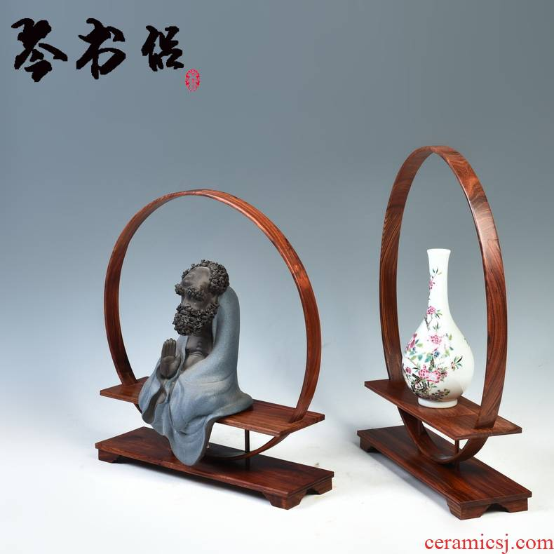 Pianology picking carved wooden handicrafts rich ancient frame stupa vase stone, jade teapot miniascape are it base