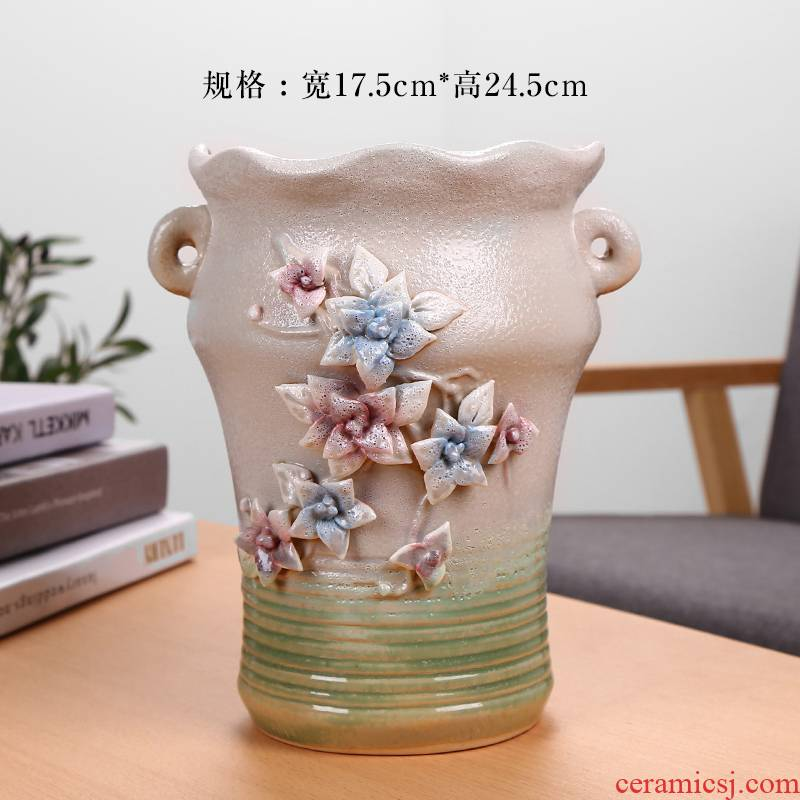 Contracted Europe type large old high running with fleshy ceramic flower pot to heavy green plant furnishing articles breathable dry flowers in the vase