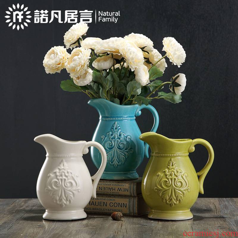 Mesa of ceramic vase sitting room hotel dry flower arranging flowers furnishing articles creative Europe type restoring ancient ways is contracted fashion decorative flowers