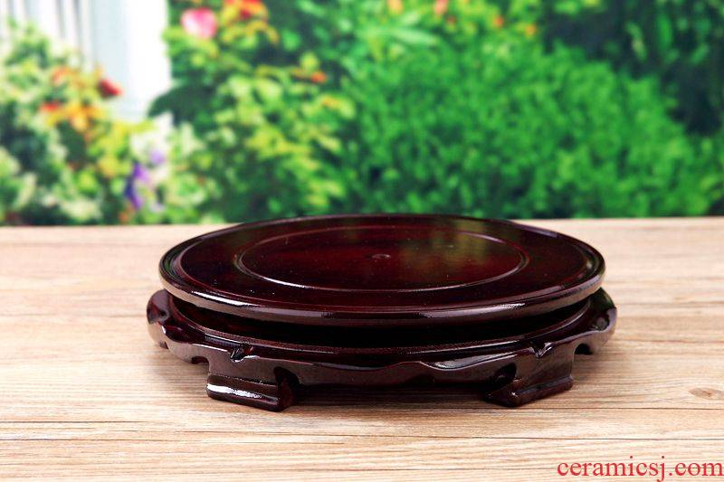 Wooden flower pot craft stone base base tank vase base shelf jars circular flower wholesale