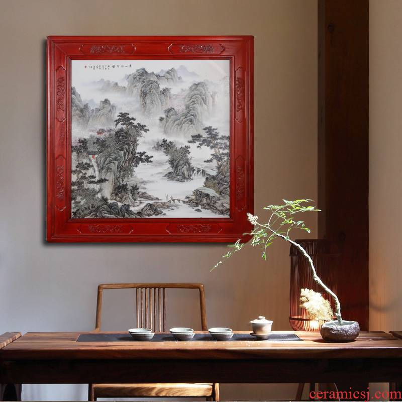 Jingdezhen ceramics hand - made hills friends porcelain plate painting adornment wall of setting of the sitting room of Chinese style household furnishing articles