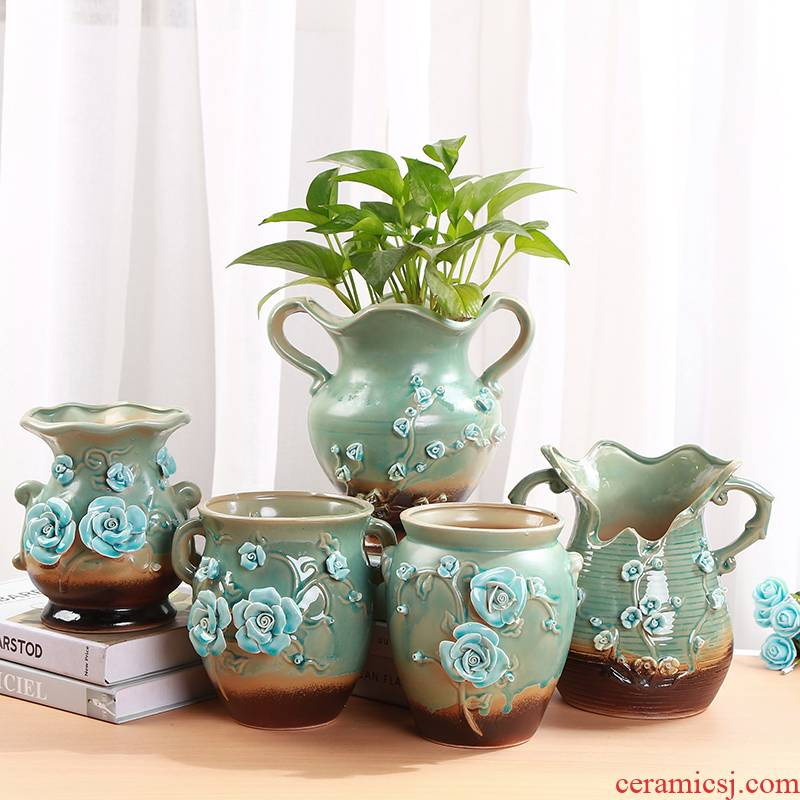 European fleshy flower pot green plant large new the old running group of flesh ceramic flower pot rosy rabbit ears mage basin