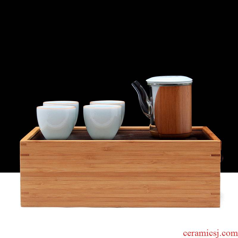Mingyuan FengTang longquan celadon work travel kung fu tea set bamboo tea tray to the receive packages of a complete set of crack cup