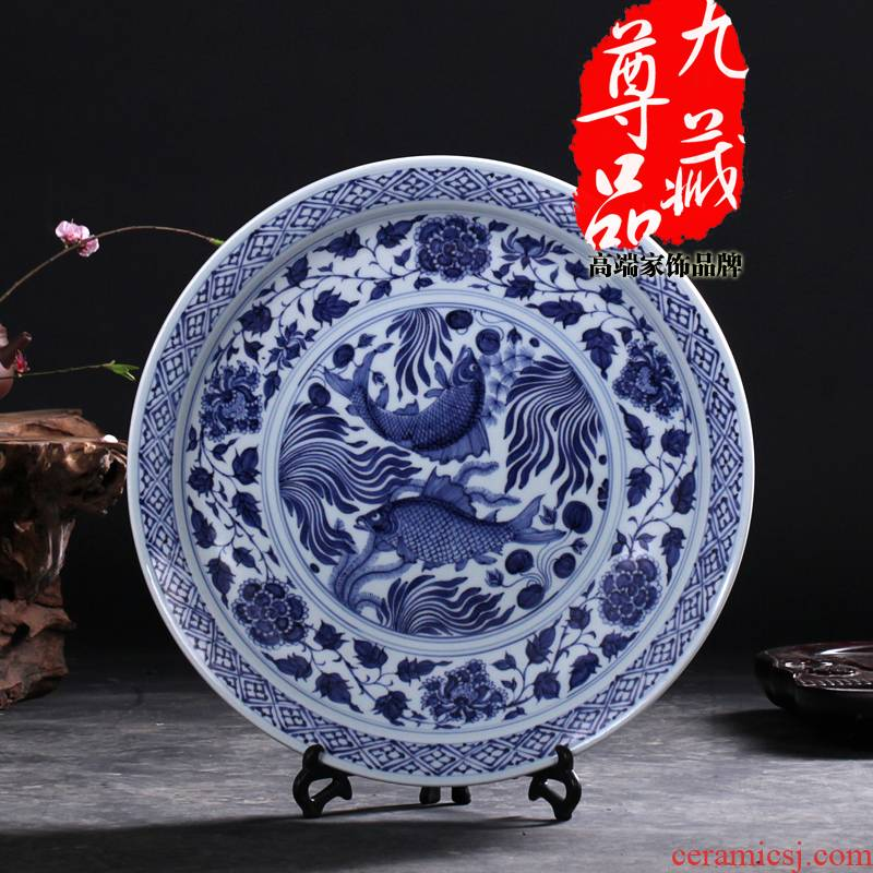 Jingdezhen ceramics imitation yuan fish algae lines hanging dish of blue and white porcelain vase home sitting room adornment handicraft furnishing articles