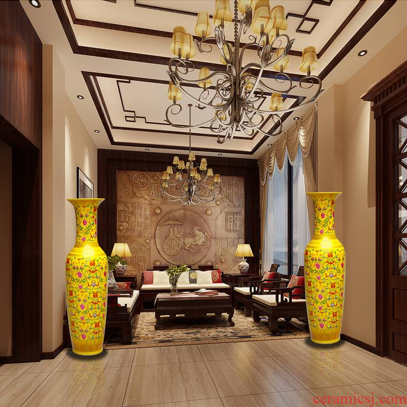 Hc - 081 jingdezhen ceramics European yellow glaze colorful branches of large vases, modern home furnishing articles sitting room
