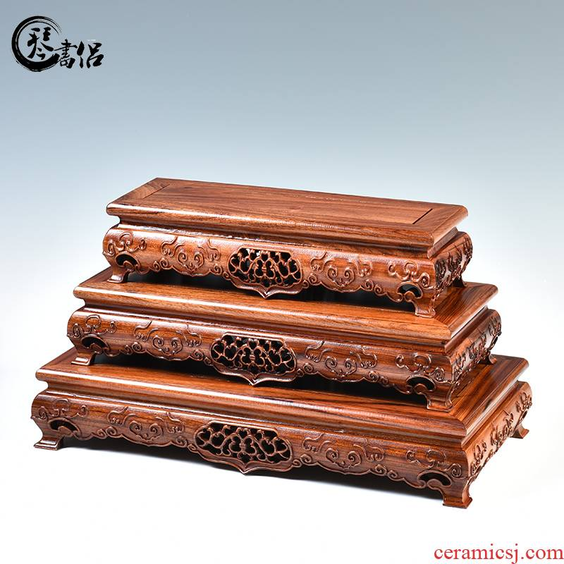 Pianology picking ruyi rectangle base solid wood handicraft furnishing articles flowers miniascape are it stone base