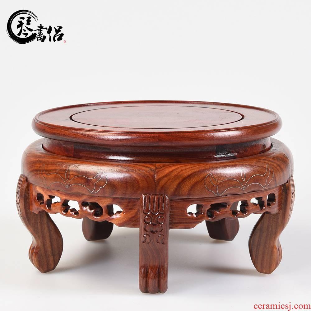 Red sandalwood round vase base miniascape of tank base base base woodcarving figure of Buddha base solid wooden frame