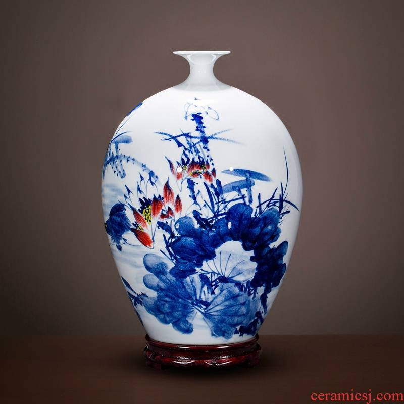 Jingdezhen ceramics vase master Chinese antique hand - made home sitting room adornment of blue and white porcelain flower arranging furnishing articles