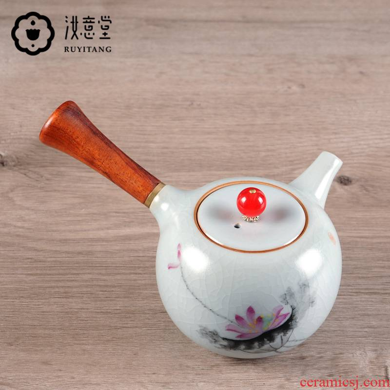 Your up hand - made side out piece of kung fu tea set a pot of Your porcelain teapot single pot small antique wooden household restoring ancient ways