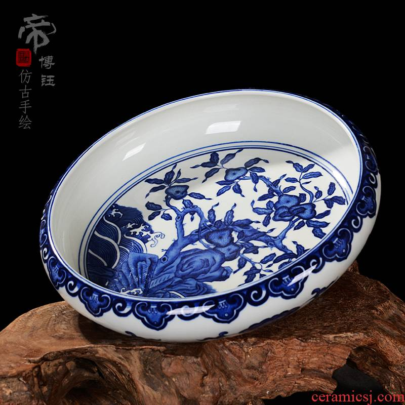 Jingdezhen ceramics vase furnishing articles XiCha manual writing brush washer water wash to antique decoration of blue and white porcelain vase restoring ancient ways