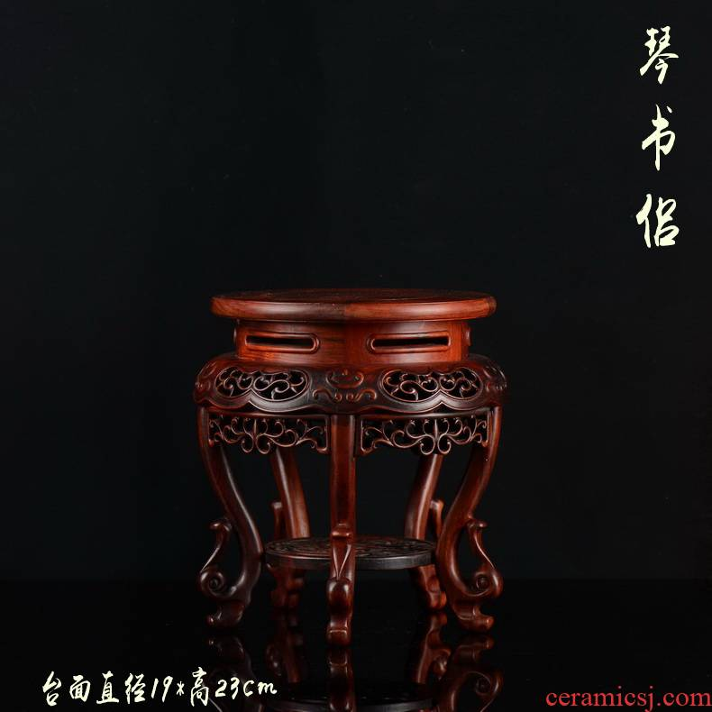 Pianology picking red rosewood carving hippocampal several flower wearing antique solid wood Buddha vase flowerpot jade round base