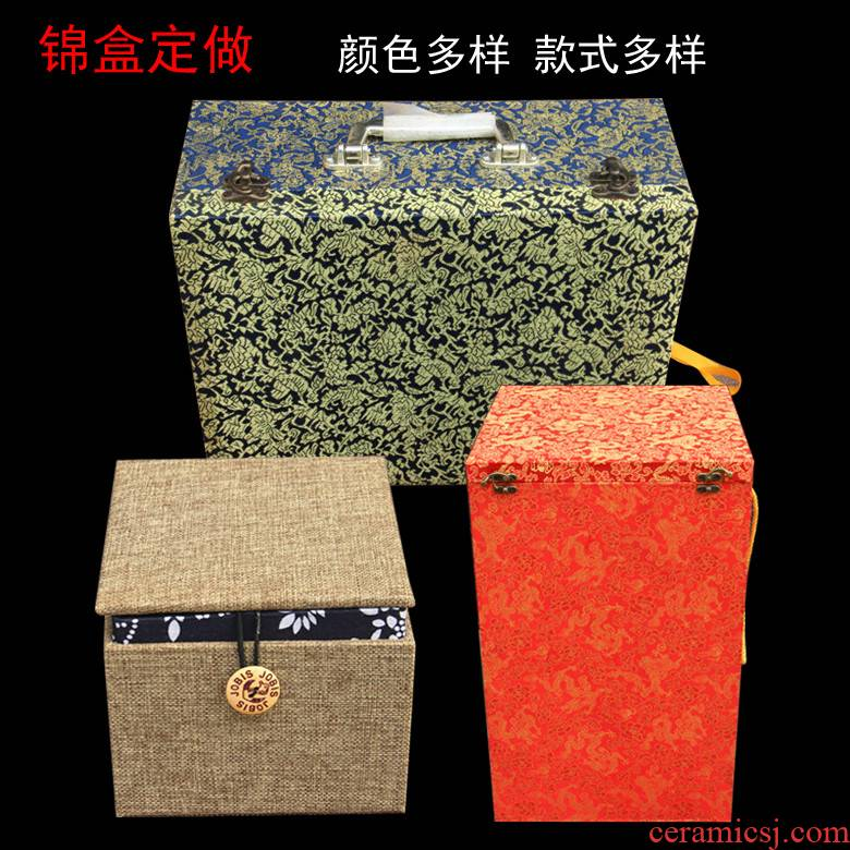High - grade JinHe ceramic bottle JinHe wine wooden jewelry box can be tailored and word