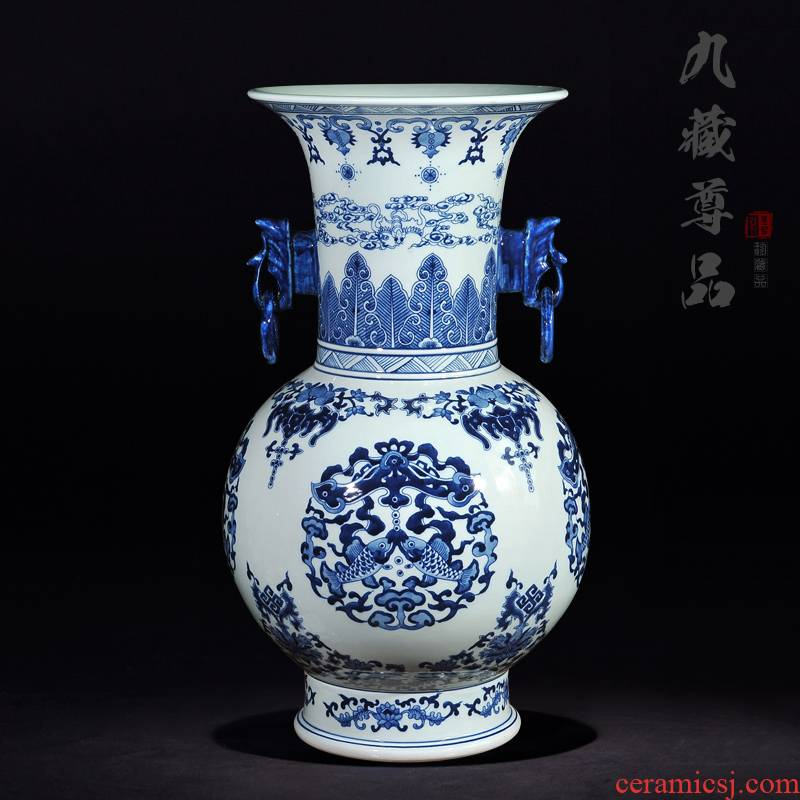 Jingdezhen ceramic vase imitation the qing qianlong hand - made porcelain ears eight Aquarius handicraft furnishing articles in the living room