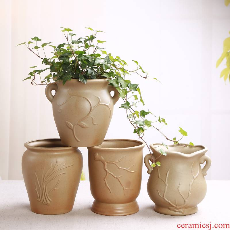 Coarse TaoSu burn breathable ceramic flower POTS of meat meat the plants more old high running with large diameter black mage, ceramic flower pot