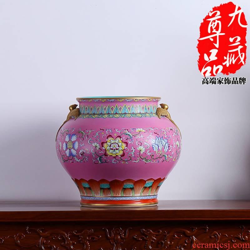 Jingdezhen ceramics powder imitation the qing qianlong pastel to tie up yan ear cylinder vase household handicraft furnishing articles