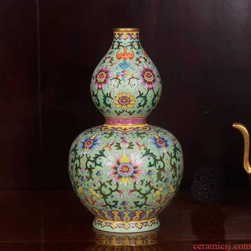 Jingdezhen ceramics imitation the qing qianlong pastel green branch lines gourd bottle home sitting room handicraft furnishing articles
