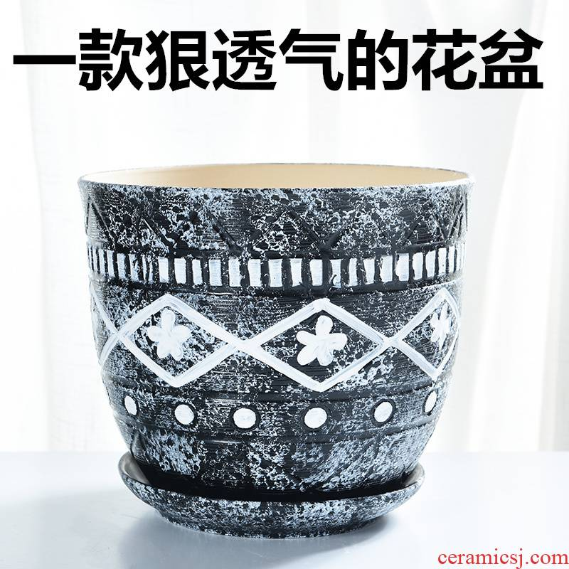 Flowerpot ceramic wholesale indoor oversized coarse pottery large green plant with tray was creative element to burn more than other meat Flowerpot