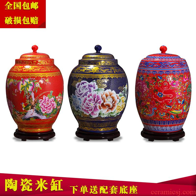 Jingdezhen household moistureproof ceramic cylinder barrel ricer box 20 jins 30 jins 50 kg pack with cover cylinder tank rice storage tank
