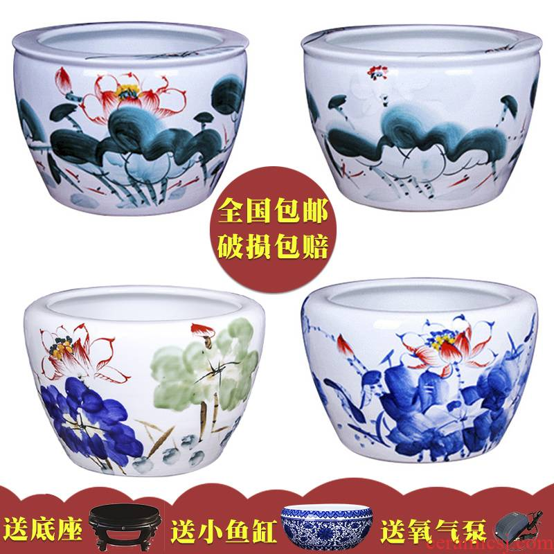 Jingdezhen ceramic bowl of a basin of water lily lotus lotus goldfish turtle cylinder number happens office sitting room home furnishing articles