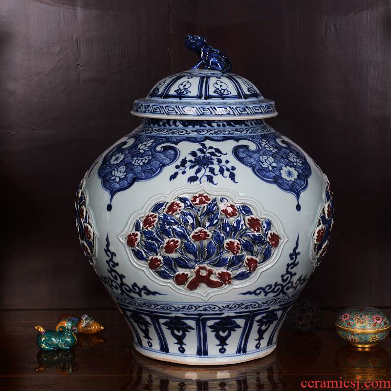 Jingdezhen ceramics imitation of yuan blue and white youligong medallion hollow out blue pot vase household crafts are sitting room