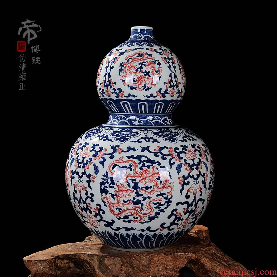 Jingdezhen ceramics yongzheng style antique blue and white porcelain vases, antique collectibles household study gourd bottle furnishing articles