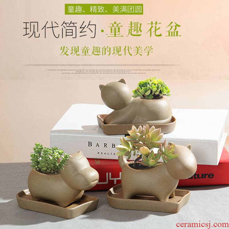 "TaoXin language creative contracted express animals ""bringing tray meaty plant ceramic coarse pottery flowerpot move old basin"