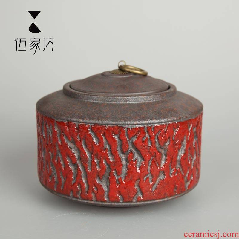 The Wu family fang element in the ceramic seal caddy fixings large ceramic pot store receives the pu 'er tea pot and tea