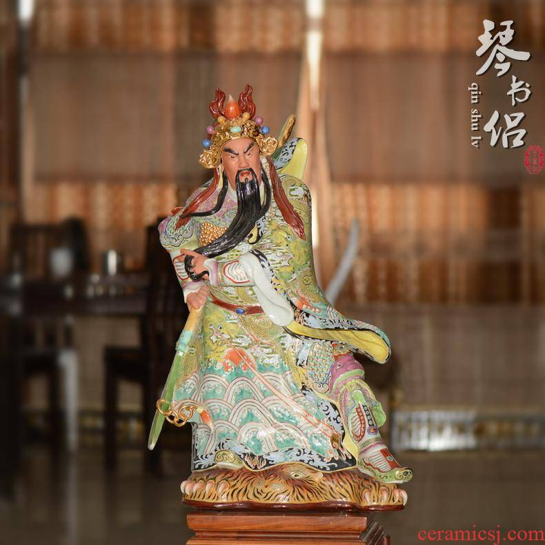Pianology picking furnishing articles of jingdezhen porcelain industry Arthur yeung its hand - made guan yu wu guan gong 92 cm high