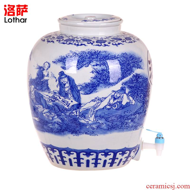 Jingdezhen ceramic jars 50 kg mercifully wine bottle hip big with sea-air-land with were leading it tank