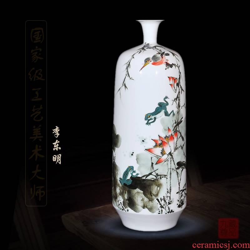 Jingdezhen ceramics dong - Ming li hand - made powder enamel vase lianxiang home sitting room decoration handicraft furnishing articles