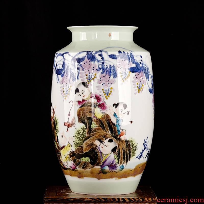 Famous master of jingdezhen ceramics hand - made vases, flower arranging furnishing articles furnishing articles five sub - ka Chinese style living room decoration