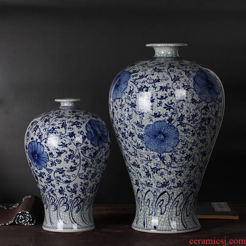 Jingdezhen ceramics hand - made cracks under glaze color porcelain glaze antique vase is placed much money