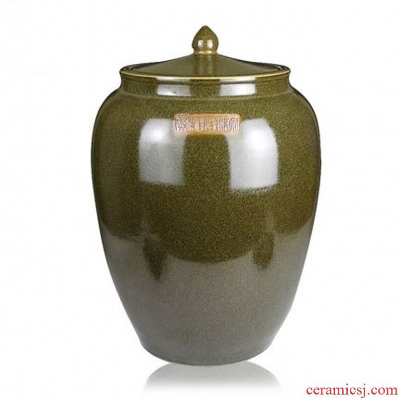 Jingdezhen ceramic glaze barrel at the end of the tea jars tank cylinder tea urn 20 jins 50 kg 100 catties 200 jins moistureproof